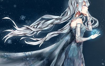 Anime ice queen holding a magical snowflake Wallpaper