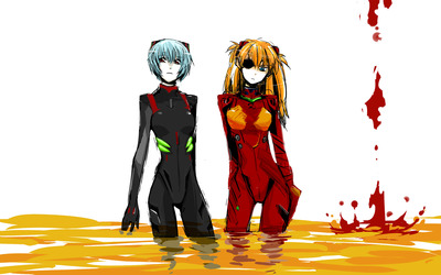 Asuka and Rei Ayanami wallpaper