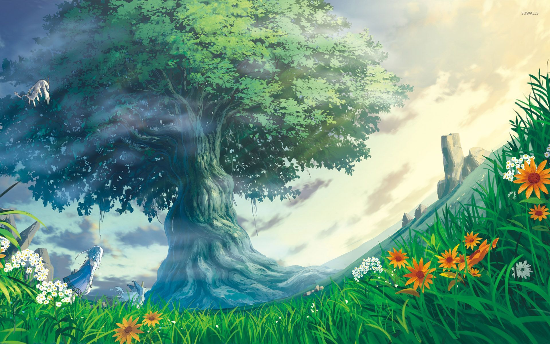 At The Tree Of Life Wallpaper Anime Field Woman 1920x1200