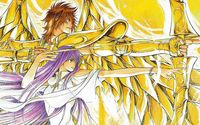 Athena and Sagittarius - Saint Seiya wallpaper 2560x1440 jpg