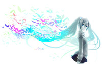 Birds in Hatsune Miku's hair - Vocaloid wallpaper 1920x1200 jpg