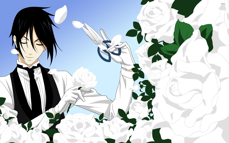 Black Butler Trimming The White Roses Wallpaper Anime
