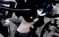 Black Rock Shooter with glowing blue eyes wallpaper 1920x1200 jpg