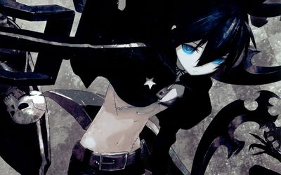Black Rock Shooter with glowing blue eyes wallpaper