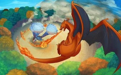 Blastoise and Charizard - Pokemon wallpaper