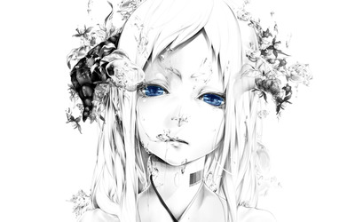 Blue eyed girl crying wallpaper