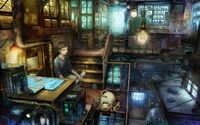 Boy and his cat in a steampunk apartment wallpaper 1920x1200 jpg