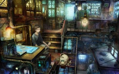 Boy and his cat in a steampunk apartment wallpaper
