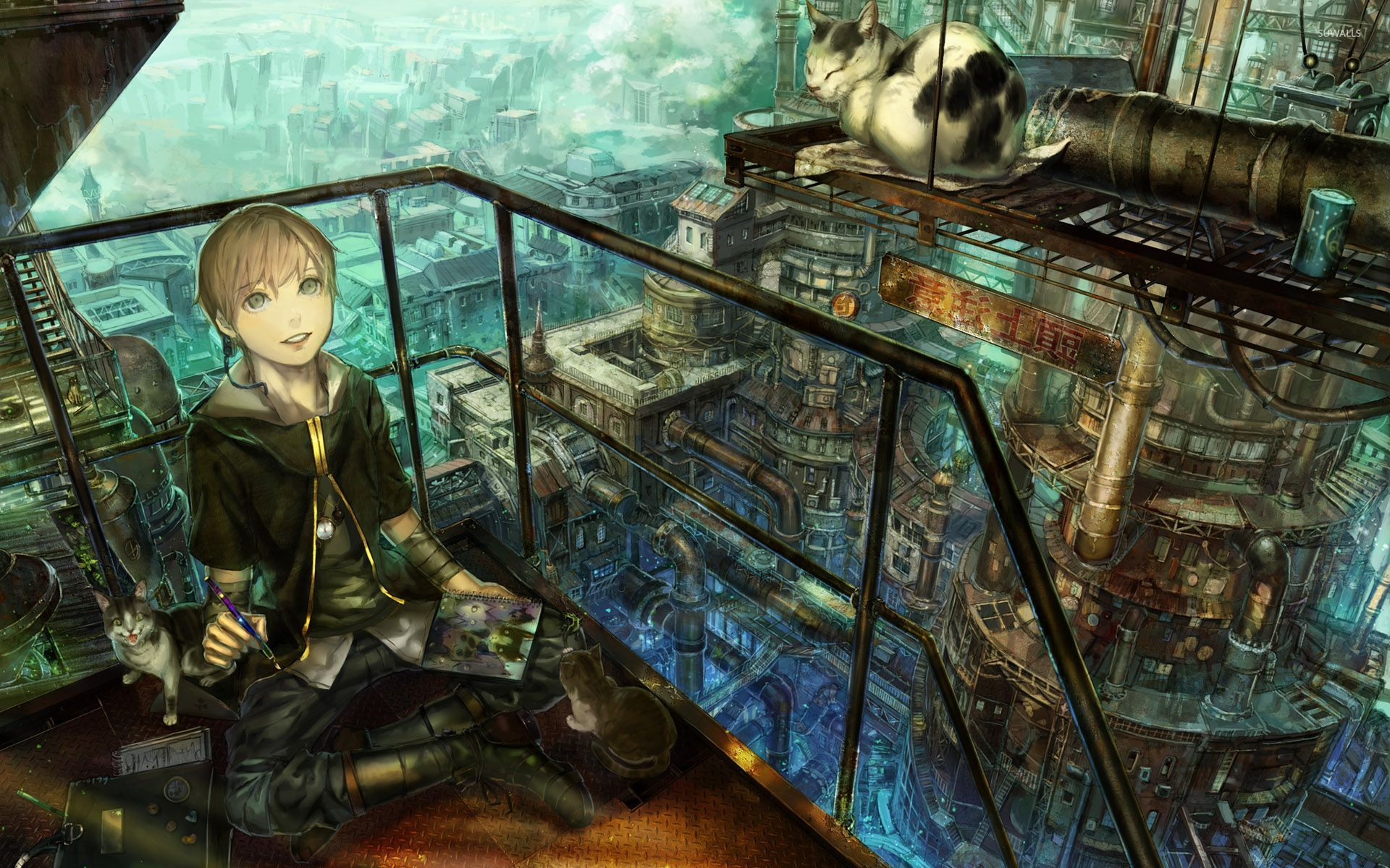 Great Wallpaper Music Steampunk - boy-painting-a-cat-in-the-steampunk-city-30589-1920x1200  Pic_884160.jpg
