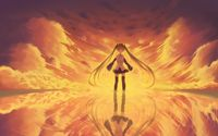 Burning sky behind Hatsune Miku - Vocaloid wallpaper 1920x1200 jpg