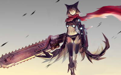 Catgirl with a chainsaw wallpaper