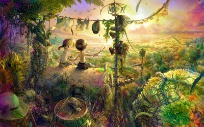 Children living in the jungle wallpaper