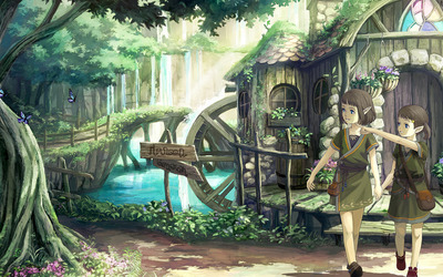 Elves town in the forest wallpaper