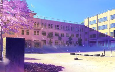 Empty schoolyard wallpaper