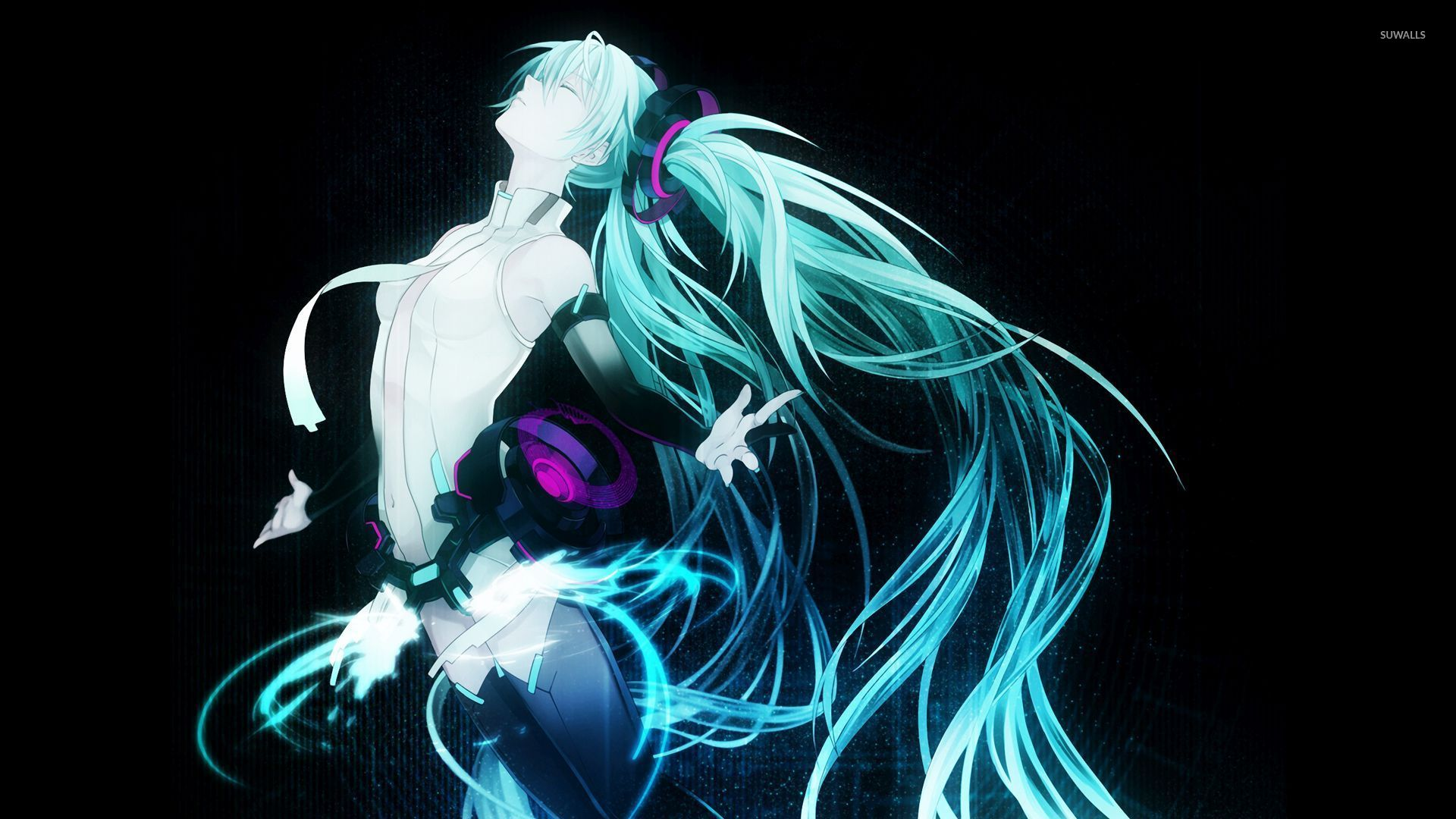 Flying Hatsune Miku in Vocaloid wallpaper