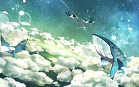 Flying whales and floating couple wallpaper 2880x1800 jpg