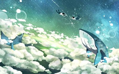 Flying whales and floating couple wallpaper