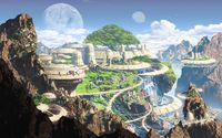 Futuristic mountaintown wallpaper 2880x1800 jpg