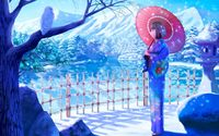 Geisha with a red umbrella on a beautiful winter day wallpaper 1920x1200 jpg