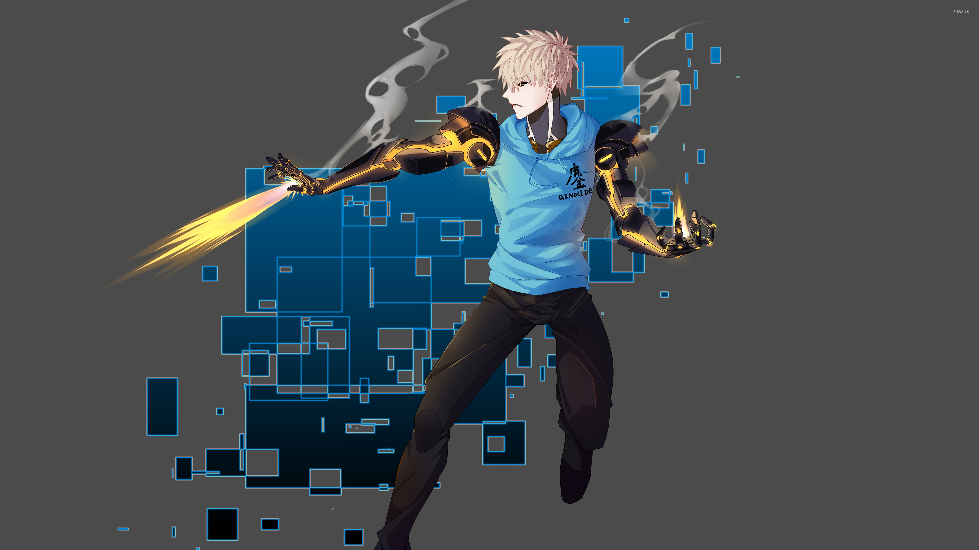 Genos Shooting Fire In One Punch Man Wallpaper Anime Wallpapers