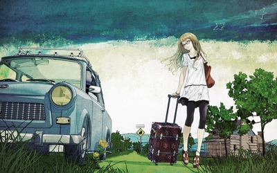 Girl going on a trip wallpaper