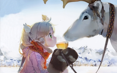 Girl sharing a tea with a Reindeer wallpaper