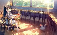 Girl sitting in a village cafe wallpaper 1920x1080 jpg