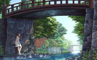 Girl under a bridge wallpaper