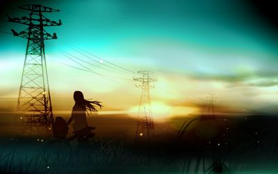 Girl watching the sunset [2] wallpaper