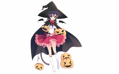 Girl witch with pumpkin wallpaper