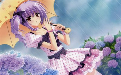 Girl with purple hair in the rain wallpaper