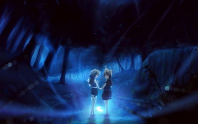 Girls in a dark forest wallpaper