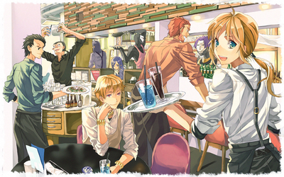 Happy Fate/zero characters in the bar wallpaper