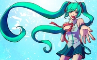 Happy Hatsune Miku reaching to the fans - Vocaloid wallpaper 1920x1080 jpg