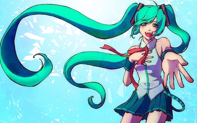 Happy Hatsune Miku reaching to the fans - Vocaloid wallpaper