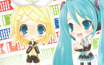 Hatsune Miku and Kagamine Rin from Vocaloid wallpaper