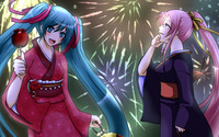 Hatsune Miku and Megurine Luka in Vocaloid wallpaper 2560x1440 jpg