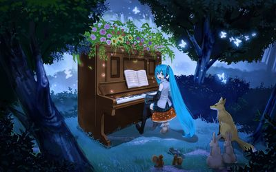 Hatsune Miku at the piano - Vocaloid wallpaper