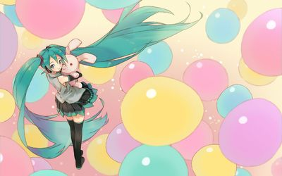 Hatsune Miku between the colorful balloons - Vocaloid wallpaper