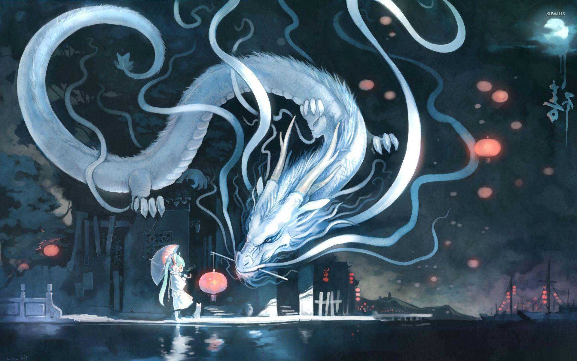 Hatsune Miku Facing A Dragon Wallpaper