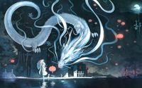 Hatsune Miku facing a dragon wallpaper 1920x1200 jpg
