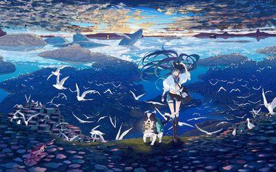 Hatsune Miku hiking with her dog Wallpaper