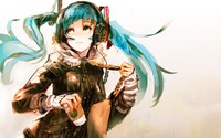 Hatsune Miku holding a cup of coffee - Vocaloid wallpaper 1920x1200 jpg