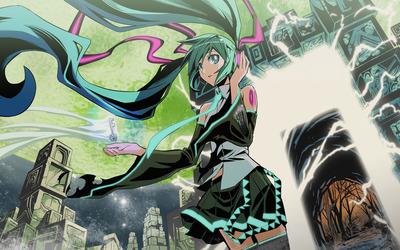 Hatsune Miku in a spooky city - Vocaloid wallpaper