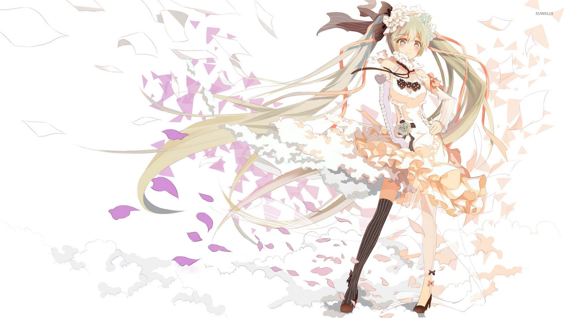 Hatsune Miku In A White Dress Vocaloid Wallpaper Anime