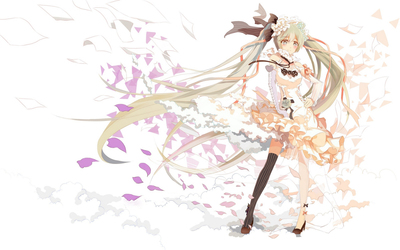 Hatsune Miku in a white dress - Vocaloid wallpaper