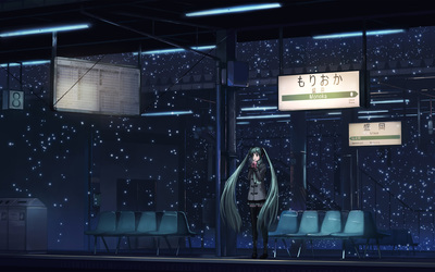 Hatsune Miku in the bus station - Vocaloid wallpaper