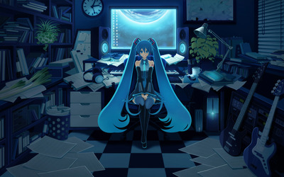 Hatsune Miku in the office - Vocaloid wallpaper