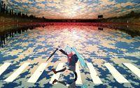 Hatsune Miku in the rain wallpaper 1920x1200 jpg