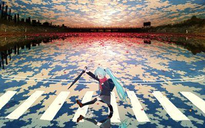 Hatsune Miku in the rain wallpaper